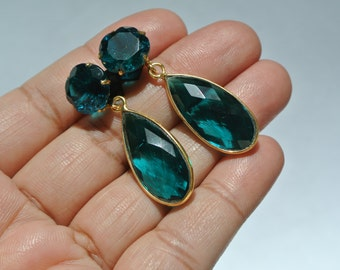 22k Gold Vermeil Teal Blue Quartz Carved Flower N Faceted Pear Earrings Available in 925 Silver also Bridal Jewelry Bridesmaids Gift