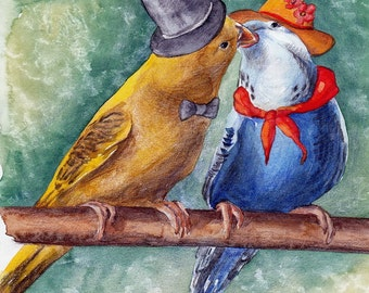 Budgies,  lovely budgies, original picture, yellow, blue, green, watercolor painting, handpainted, nature, vintage. Tatiana-Art.
