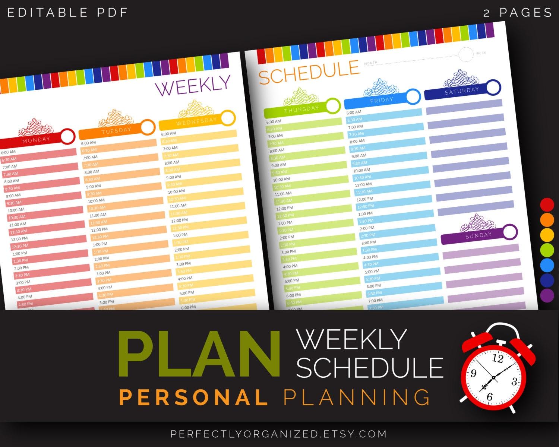 weekly everyday time schedule tracker calendar reminder alarm