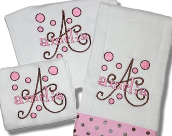 Personalized Baby Gift Set - Onesie, Burp Cloth and Bib