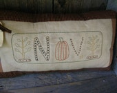 Primitive Fall Pillow November decoration Primitive stitchery Fall stitchery Thanksgiving decoration Halloween decor  Homespun Coffee dyed