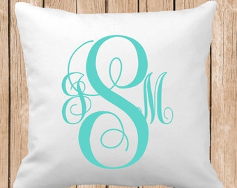 Monogrammed Throw Pillow, Choose Colors, Personalized Pillow, Custom Throw Pillow