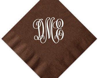 100 Large Monogram Cocktail Napkins Personalized Paper Custom Wedding Home Gift 3 ply