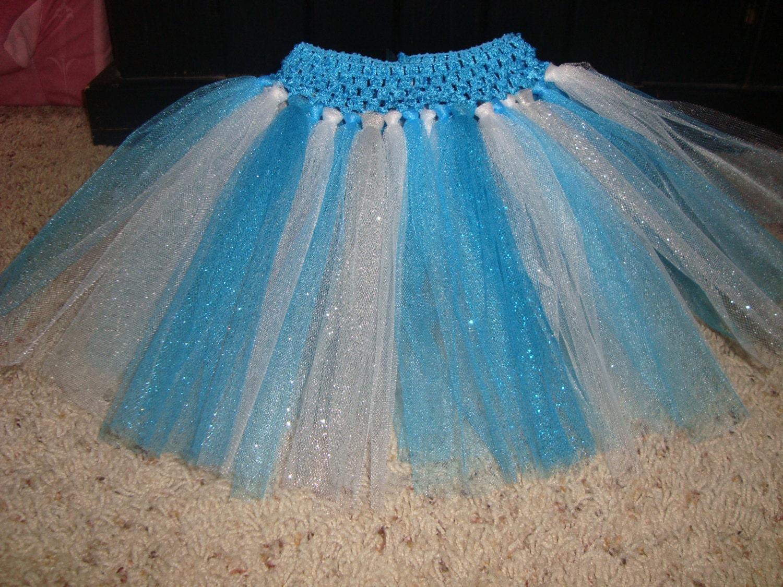Elsa Inspired Tutu Skirt Glitter Tulle Frozen