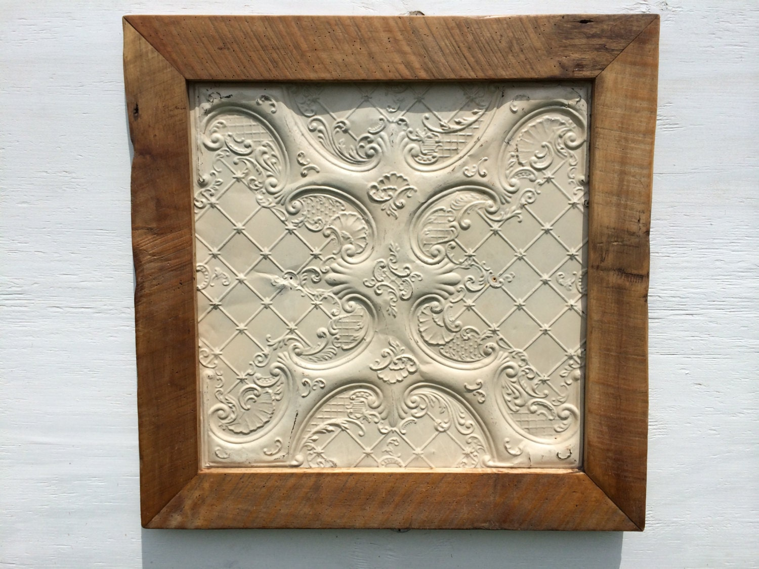 Antique Tin Ceiling Tile with Handmade Barn by RustedFinchRoad