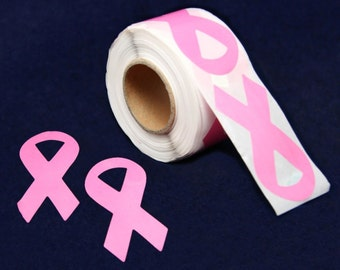 250 Large Pink Ribbon Breast Cancer Ribbon Stickers  (250 Stickers)  (ST-02-1)