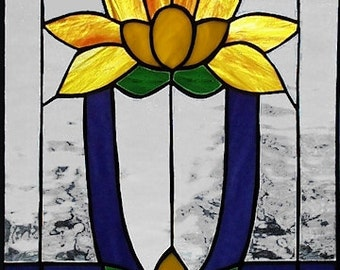 Lotus Flower - stained glass panel