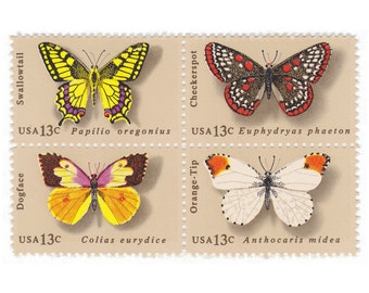 12 Unused Vintage Postage Stamps - 1977 13c Butterfly - Item No. 1712s
