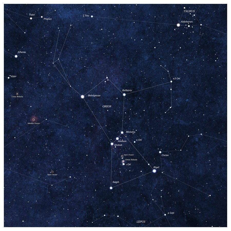 Orion Star Map Constellations 8x8 Art Print by ArtForOwl on Etsy