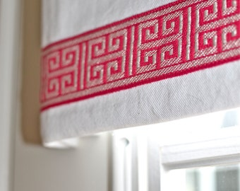 Greek key trimmed valance in washed white twill