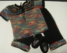SALE! Baby girl Stylish earthy colors tie top and matching pants with mocassin gift set 9-12 months,  One of a kind