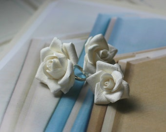 White Roses Clay Jewelry Set 3pc - Ring & Earrings