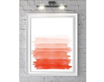 Abstract Brush Strokes Watercolor Painting Print 'Simply Strokes'  -  Orange and Pink Home decor and wall art