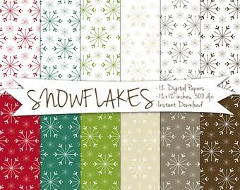 Digital Snowflake Paper // Printable Christmas Paper // Digital Christmas Paper // Christmas Snowflake Paper