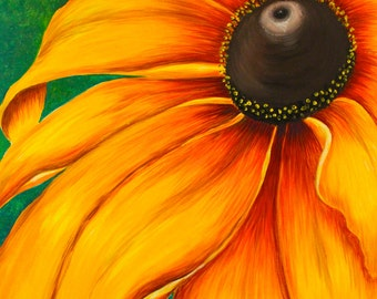 Large Sunflower Painting, Acrylic on Canvas, Ready to Hang