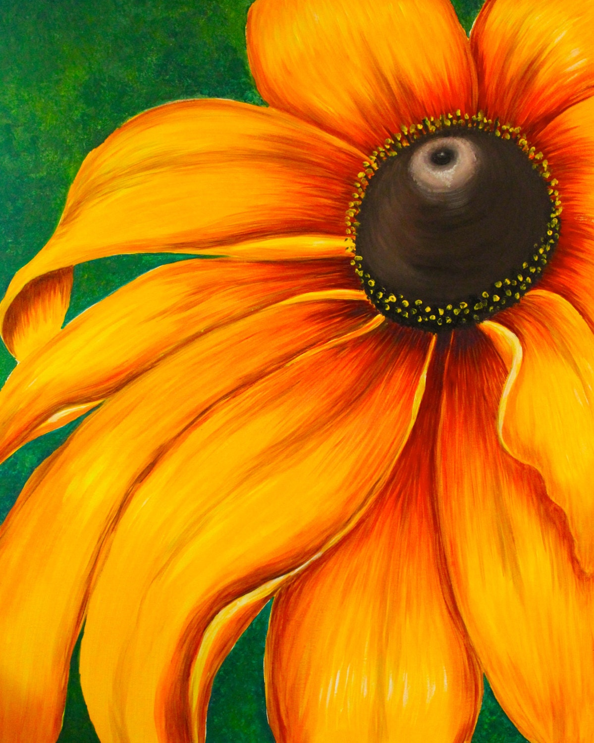 Large sunflower painting acrylic on canvas ready to hang for Painting large flowers in acrylic