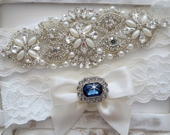 Wedding Garter Set, Bridal Garter Set, Vintage Wedding, Pearl Garter, Something Blue - Style 750