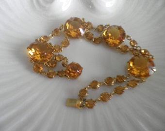1920's Art Deco Open Back Honey Rhinestone Bracelet