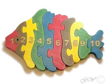 Wooden Puzzle Fish, Wooden toys. Wooden Animal Puzzle, Numbered Fish Puzzle M224