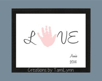 LOVE Handprint Art - Personalized Baby Nursery/Child's Room, Parent gift, Mother's Day, Father's Day, Valentine's Day, Grandparent Gift