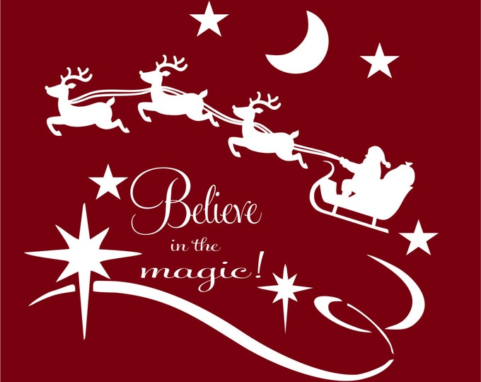 Christmas Decal- Believe in the Magic Vinyl Wall Decal- Christmas Decoration- Christmas Wall Decals