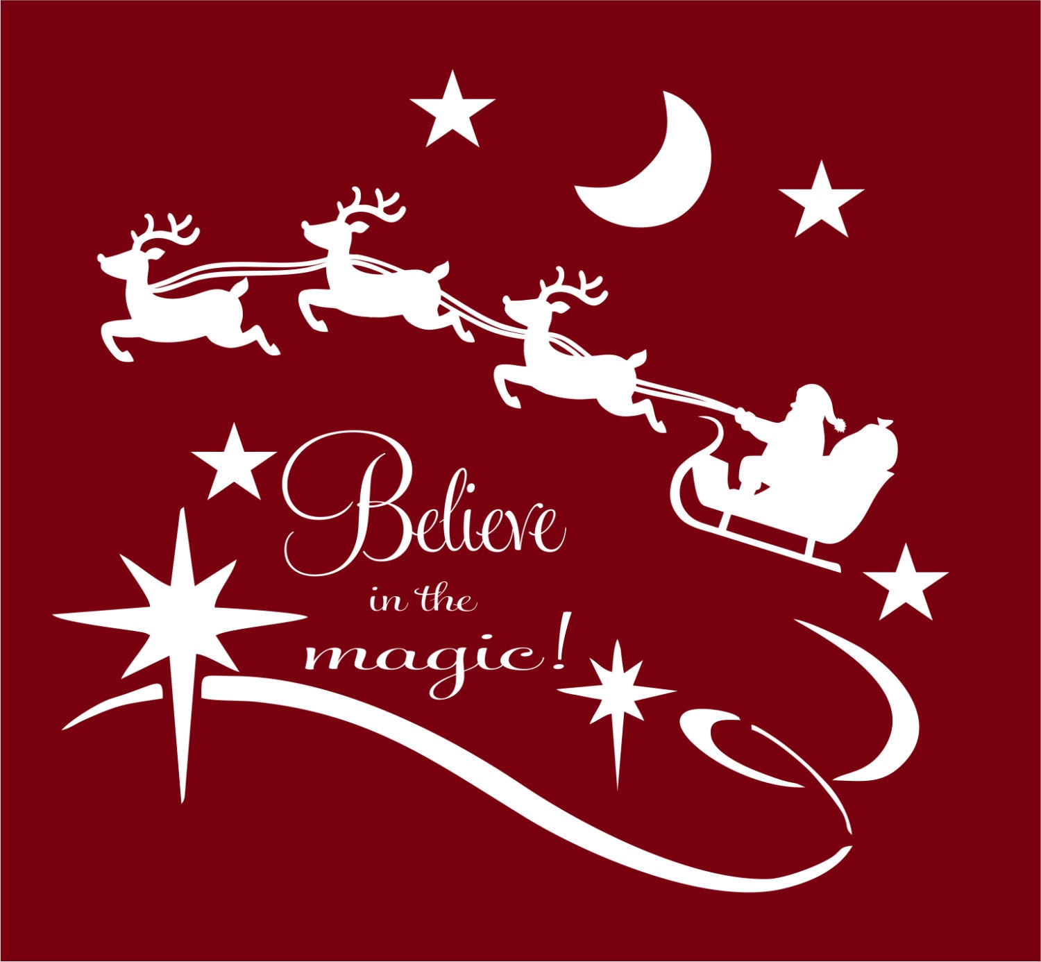 Christmas Decal Believe In The Magic Vinyl Wall Decal