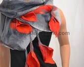Hand made silk shawl on natural silk. Hanging calla. Decorated with Australian merino wool on natural silk. Gray with red