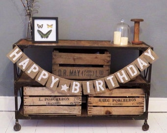 Happy Birthday Hessian Burlap party banner bunting