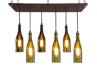 ... Lighting, Mid-Century Chandelier, Wine Bottle Pendant Lighting, Edison