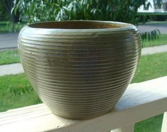 Antique 1940's Zanesville Stoneware Pottery Company Homespun Ring Jardiniere Flower Pot Planter