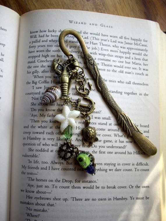 Steampunk Vintage Style Nautical Bronze Mermaid Gear, Turtle, Shell, Starfish Skull & beads Bookmark