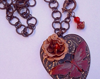 Butterfly and Rose Brass Necklace