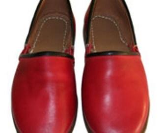 Turkish Yemeni Organic Hand Made Genuine Leather Shoes red 34 to 47