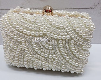 Creamy/Ivory ~New Style Pearls~Handmade Pearl Bridal Evening Clutch Bag