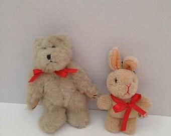 Vintage Stuffed Bear and Bunny