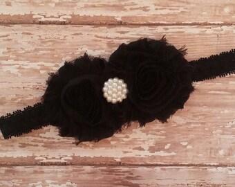 Black double rosette headband - shabby flower headband - black flower headband - newborn headband - photo prop