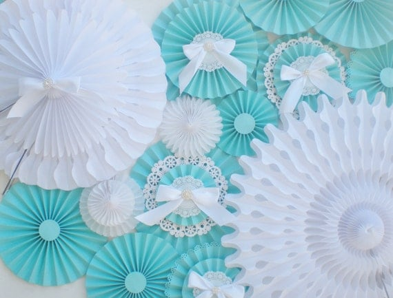 aqua white paper fans table backdrop or photo backdrop with