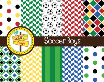 Soccer Digital Papers - Soccer Digital Paper Pack- Scrapbooking, Backgrounds, Invitations, Card Design