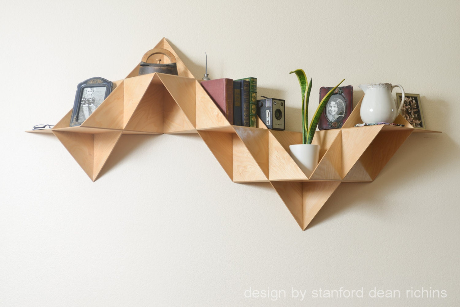 Danish modern inspired modular triangular birch wood wall - Triangular bookshelf ...