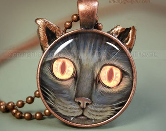 ZOMBIE CAT Necklace, Apocalyptic Cat pendant // Halloween necklace resin pendant // black cat jewelry // Black Cat Jewelry Pendant // SC1