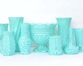 Shabby Chic Aqua Centerpiece Collection, Set of 9 Glass Vases and Containers