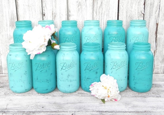 Shabby Chic Mason Jars for Wedding Decor, Vases, Centerpiece in Turquoise and Aqua, Half Gallon Mason Jars