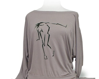 """Dolman Long Sleeve Dance Top """"Head Crank"""" Pebble (Tan).  Dancers will love this soft knit top for class or rehearsal."""