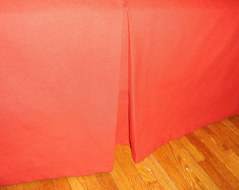 Red Pleated Bed skirt with decorative stiching.