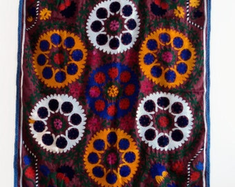 Vintage Suzani Wall Hanging, blanket, tapestry, upholstry fabric.