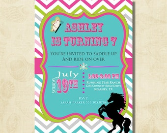 Girls Horse Birthday Party Invitation,Rainbow Chevron, printable, digital file, DIY