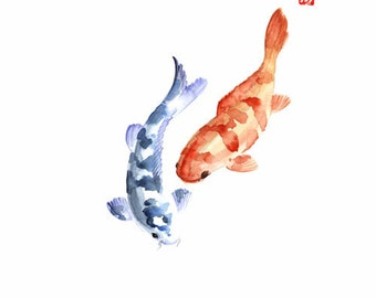 Popular items for koi on etsy for Blue and orange koi fish