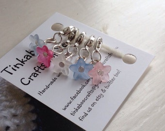 Delicate frosted flower stitch markers
