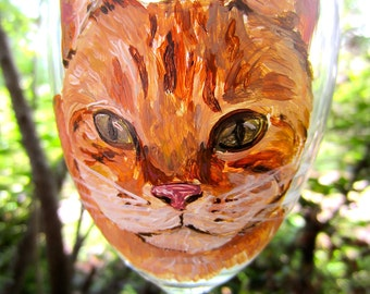 Hand Painted Orange Tabby Cat Wine Glass