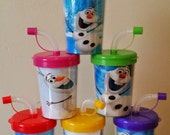 Frozen Snow Princess Personalized Party Favor Cups, Olaf Birthday Treat Cups Set of 6, BPA Free
